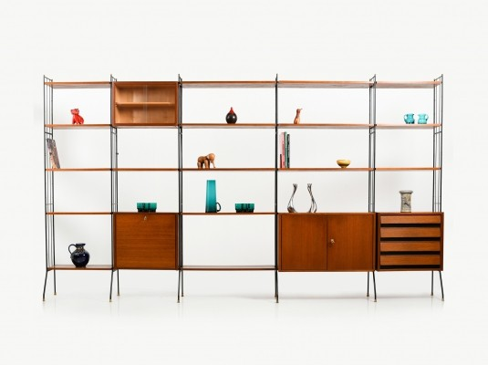 Teak Shelf System with Bar, Early 1950s