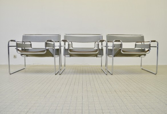 3 x Gavina B3 'wassily' chairs by Marcel Breuer