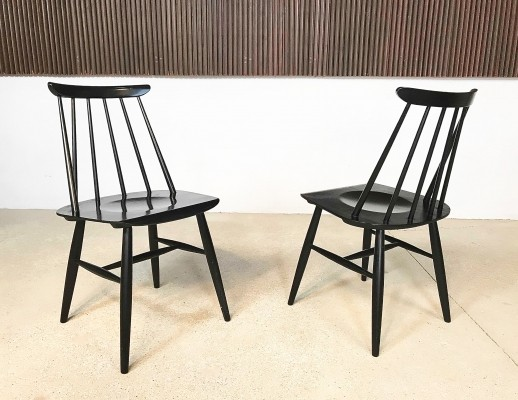 Pair of Black Fanett Chairs by Ilmari Tapiovaara for Asko, 1950s