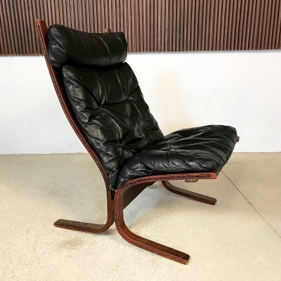 Tufted Leather & Mahogany Siesta Chair by Ingmar Relling for Westnofa, 1960s