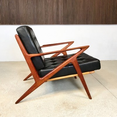 Tufted Leather & Teakwood Z-Chair by Poul Jensen for Selig Denmark, 1950s