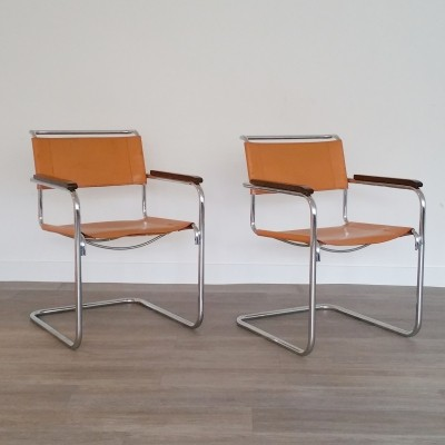 Set of 2 Cantilever Armchairs S34 by Mart Stam for Thonet, 1980s