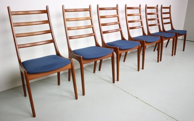6 Danish Modern Teak Ladder Back Dining Chairs by Kai Kristiansen, 1960s