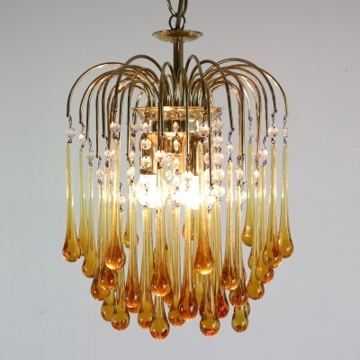 Vintage Murano Amber Glass Tear Drop Chandelier by Paolo Vanini, Italy 1960s