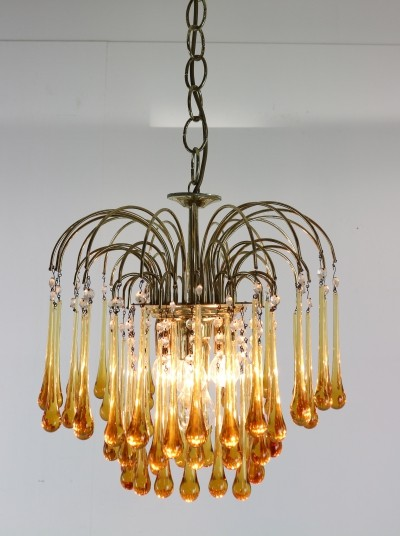 Vintage Murano Glass Tear Drop Chandelier by Paolo Vanini, Italy 1960s