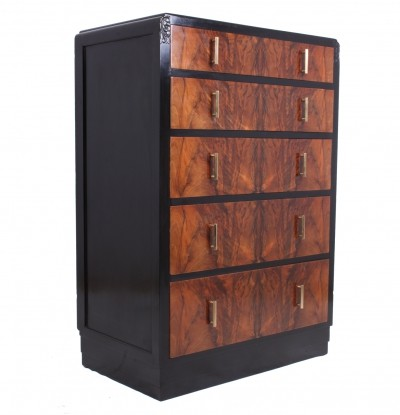 Art Deco Walnut & Ebonised Chest of Drawers