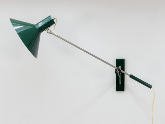 Green counterbalance wall light by J. Hoogervorst for Anvia Almelo, 1960s