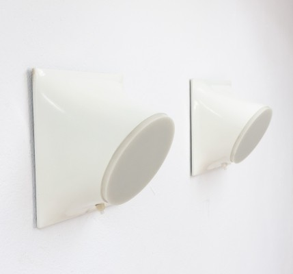 Rare space age wall lights by Giotto Stoppino for Raak Amsterdam