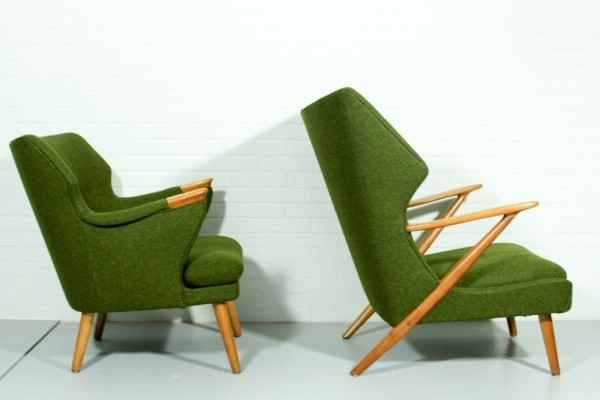 Unique & very rare set of Kurt Olsen 'papa bear' lounge chairs, 1950s