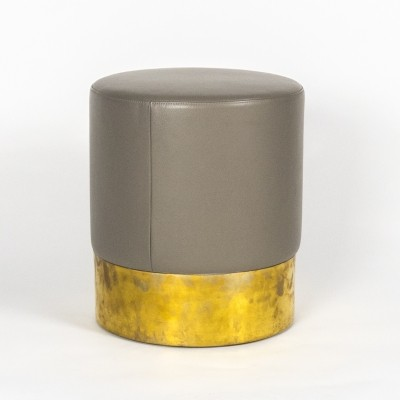 Cilindro leather stool by Luigi Caccia Dominioni for Azucena
