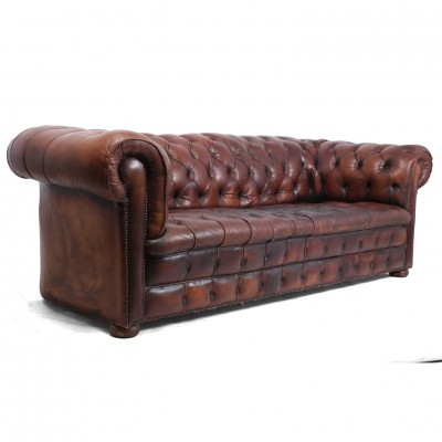 Vintage Brown Leather Chesterfield, c1960