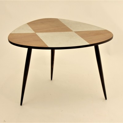 Organic shaped wood/formica tripod coffee table
