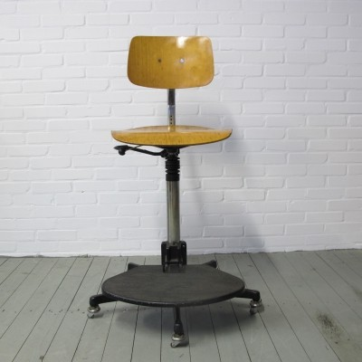 Vintage work stool with foot-ring, 1960s