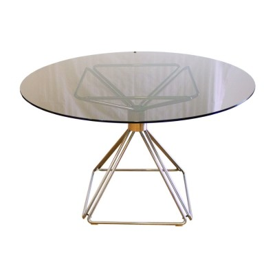 Rare Pyramide Dining Table With Top Glass And Chromed Base By Rudi Verelst, 1970