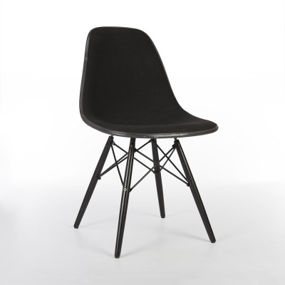 Original Herman Miller Black on Black Eames Upholstered DSW Dining Side Chair