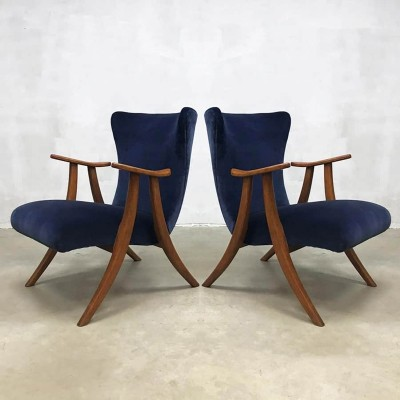Pair of Midcentury modern wingback chairs