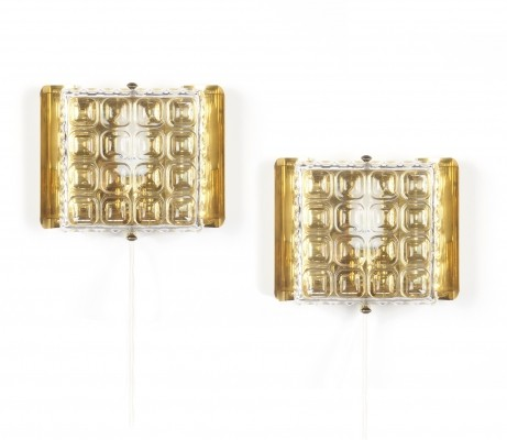Brass & glass wall lights by Carl fagerlund for Orrefors, 1960's