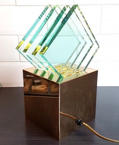 Brass minimalist cube lamp by Sische Leuchten with glass plates, Germany 1980s