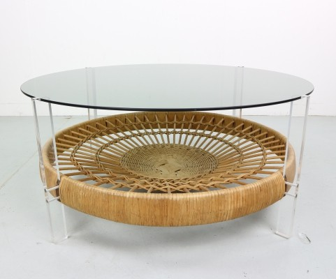 Italian Design Smoked Glass Coffee Table & Rattan Magazine Rack, 1970s