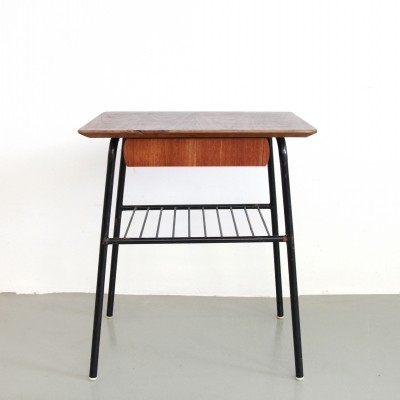 Teak Swedish design side table with drawer, 1960s