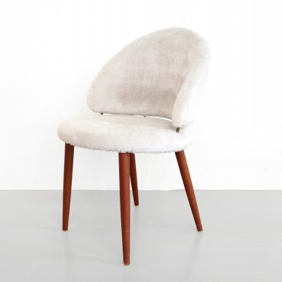 Teak & fake sheepskin vanity chair by Frode Holm for Illums Bolighus