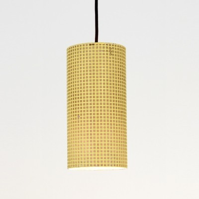 Yellow perforated metal vintage hanging lamp, 1950s
