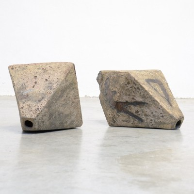 Pair of Brutalist Ceramic Octahedron Sculptures