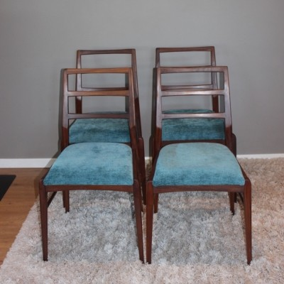 Set of 4 Richard Hornby afromosia (african teak) vintage chairs, 1960s