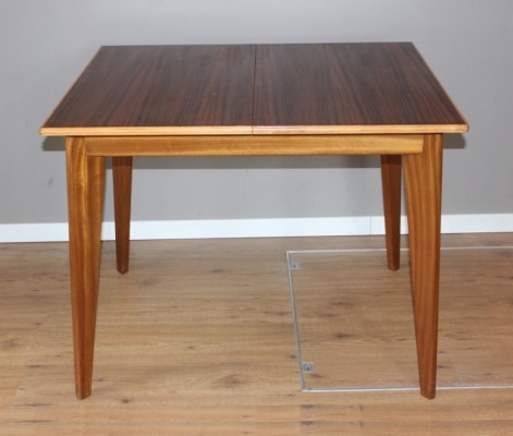 Walnut vintage dining table with extension leaf by Morris Of Glasgow, 1950s