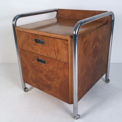 Mid Century Bauhaus Style Burl, Oak & Chrome Credenza / Chest of Drawers