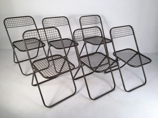 6 Vintage Metal Folding Chairs by Niels Gammelgaard, c.1970