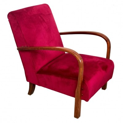 Art Deco armchair in teak & velvet, 1940s