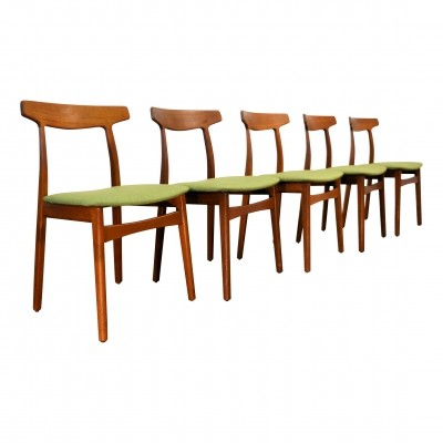 Set of 5 dining chairs by Henning Kjærnulf for Bruno Hansen, 1960s