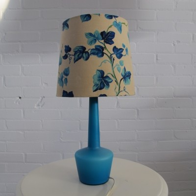 Blue Glass Danish Table Lamp, 1960's