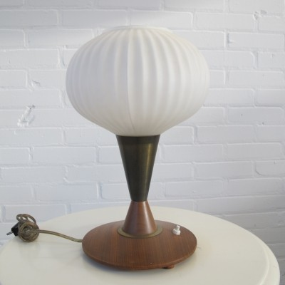 Vintage Teak Glass Brass Table Lamp, 1960s