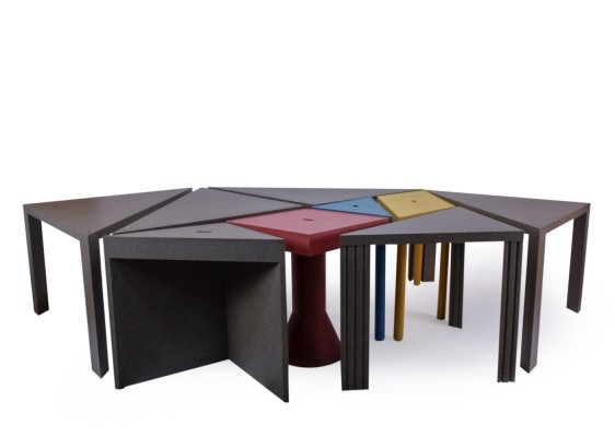 Set of 9 Vintage Tangram Tables by Massimo Morozzi for Cassina, 1980s