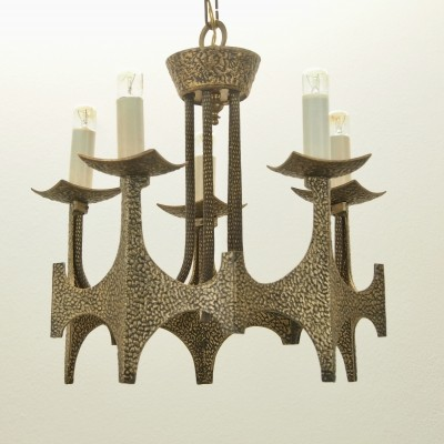 Brutalist mid century hammered brass Chandelier by Moe Bridges