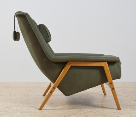 Scandinavian modern chair by Folke Ohlssen in olive green leather & beech