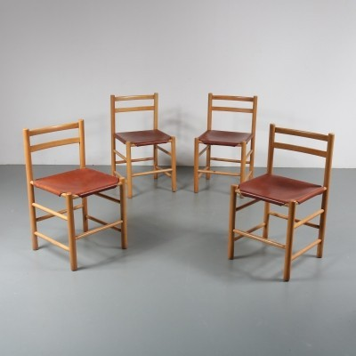 Set of 4 dining chairs by Ate van Apeldoorn for Houtwerk Hattem, 1960s