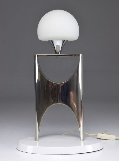 Vintage Aluminium Boulle Table Lamp, 1950-1960