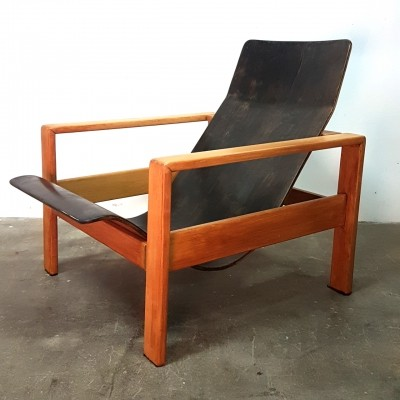 Plywood & wood lounge chair, 1960s