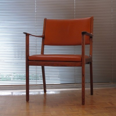 Model 412 Solid Rosewood & Original Leather Armchair By Ole Wanscher