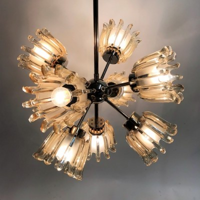 Glass Tulip Sputnik Chandelier from Doria, 1960s