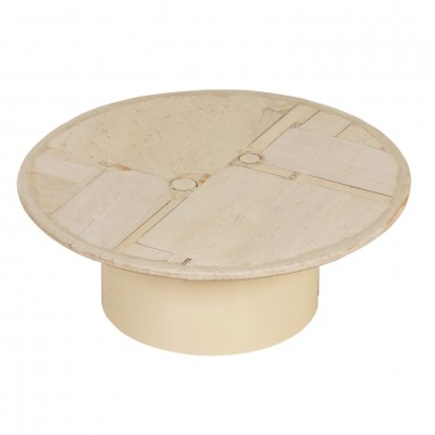 Round White Stone Kingma Coffee Table by Paul Kingma, 1987