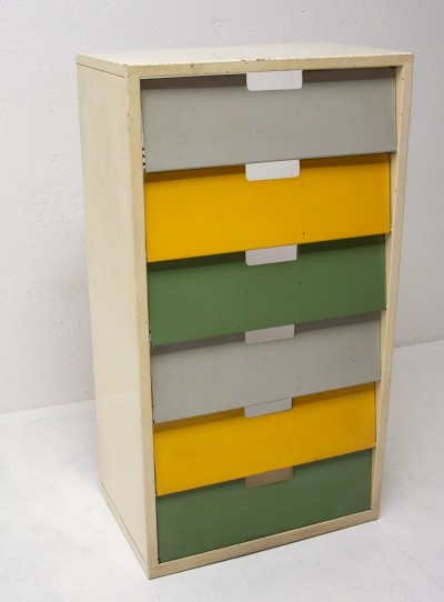 Mid-century colour sheet metal shoe rack, Eastern bloc 1960s