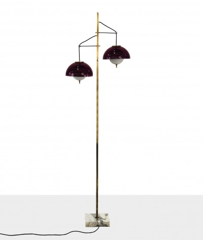Floor lamp by Stilux in plexiglass marble & brass, 1950s