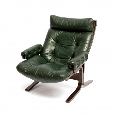 Ingmar Relling easy lounge chair in green leather, 1960s