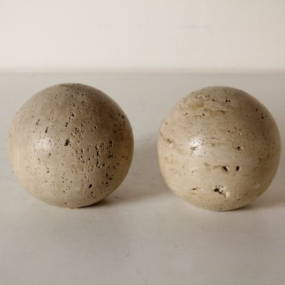 Pair of Travertine Spheres, Italy 1960s-1970s