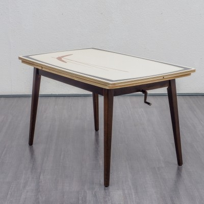 Extendable & height adjustable dining table with decorative graphic pattern, 1950s