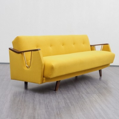 Buttercut yellow sofa / fold-out bed, 1950s